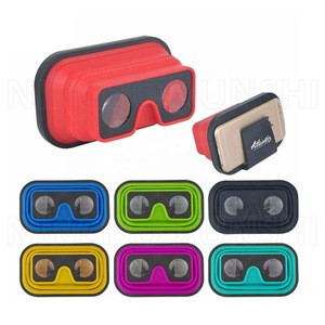 New arrival free sample high quality personal Silicone colored cute flexible folded mobile 3D watch Video vr movie glasses