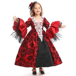 New Red Girls Medieval Palace Cute Vampire Costume Girls Cosplay Gothic Fancy Dress Carnival Game Halloween Costume For Girls
