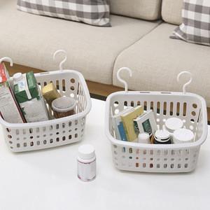 Plastic Hanging Shower Basket With Hook For Bathroom Kitchen Storage Holder Housework Storage Supplies