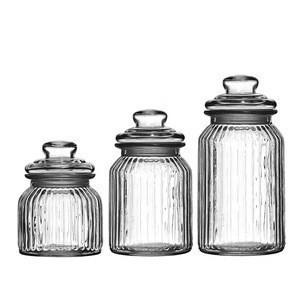 Ribbed Glass Storage Jars For Tea Coffee Sugar Food Sweet Biscuit