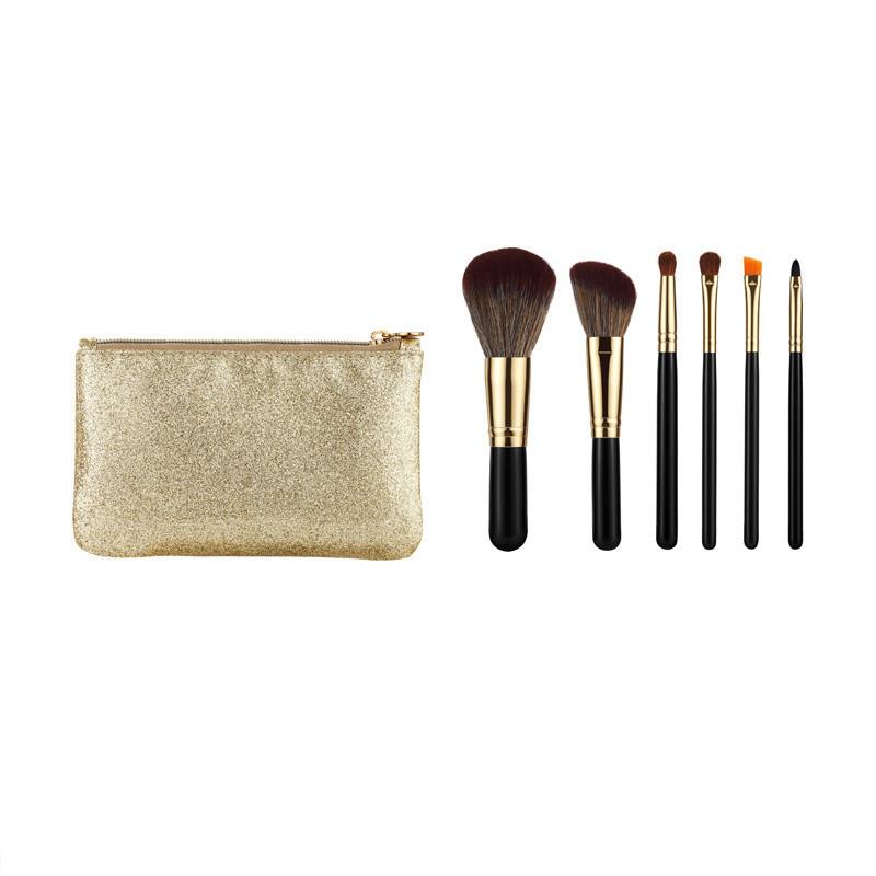 Travel Makeup Brush Set Synthetic Hair Wood Handle