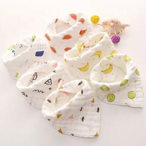 Useful eco-friendly custom soft 100% cotton muslin baby bibs triangle