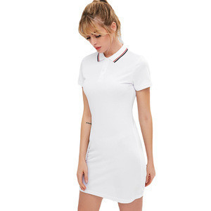 Women active wholesale mini short sleeves tennis longline straight t-shirt polo collar dress