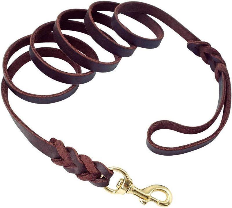 Soft And Sturdy Leather Premium Pet Leash Lead Training And Walking Braided Dog Leash