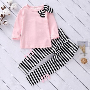 2pcs Autumn Girls Clothes Long Sleeve Pink Kids Bowtie Sweatshirt Top + Striped Pants Baby Clothing Sets for 3-7 Years Girls