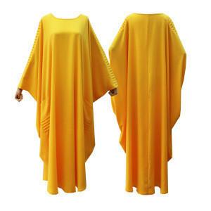 Casual Islamic Clothing Yellow Plus Size Long Sleeve Party Evening Slim Abaya Dress In Dubai Pakistani Dresses Dubai