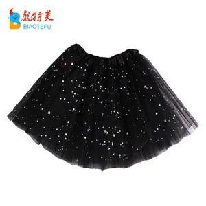 Cheap 3 layers glitter puffy tulle tutu skirt girl