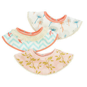 Cheap Adjustable 100% Cotton Pack Absorbent Silicone Baby Bib Bandana Drool Bibs