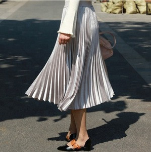 China wholesale Solid color black chiffon flare long pleated skirt