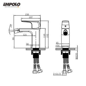 Empolo Brass Body Single Lever Toilet Modern Solid Brass Bbidet Faucet