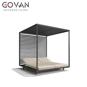 Hotel big canopy sun bed Garden Pool  Waterproof Patio brushed aluminum Double lounger Furniture Square Outdoor Daybed