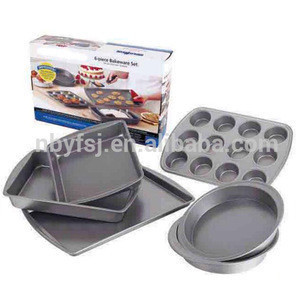YJ 8S007 Non Stick Carbon Steel Bakeware Cup Cake Muffin Baking Pan Tray Set For Sale