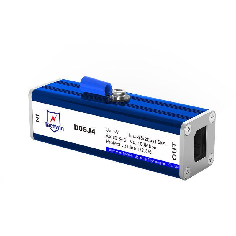 Techwin RJ45 Lightning Arrester(SPD)for cat5e 100 Base-T Ethernet arrester Model: D05J4