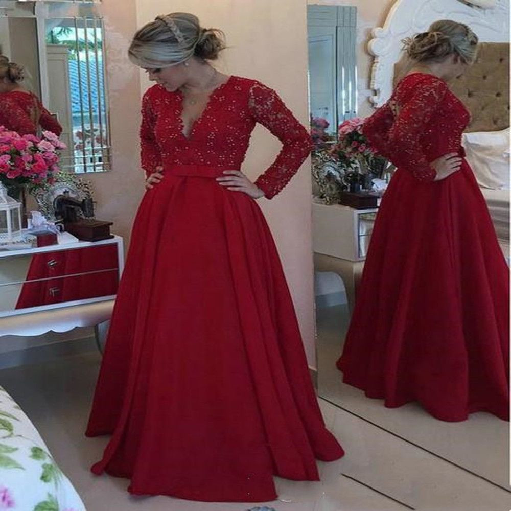New Red Lace Mother of the Bride Dresses for Weddings Beaded A Line Evening Groom Godmother Dresses