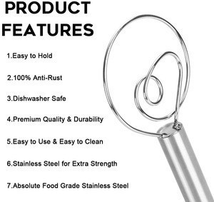 12.2 inch Professional Danish Dough Whisk Stainless Steel Bread Mixer  for Cake Dessert Bread Pizza Pastry Food