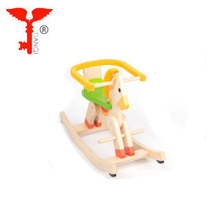 Baby Horse Solid Wood Child Carousel Toys Gift Wooden Rocking Chair Kid Riding Wooden Rocking Horse Toy