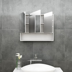 Classic modern bathroom furniture grey and white mirror cabinet restroom use