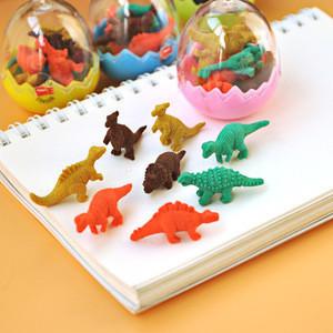 Creative colorful mini eraser sets 3d shaped pencil eraser stationery sets cartoon dinasour animal eraser sets for kids