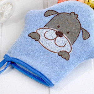Cute cartoon printed baby colorful bath sponge gloves infant shower cleaning bath sponge