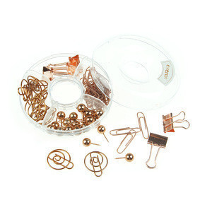 Fancy design 5 in 1 rose gold office pina/clips set