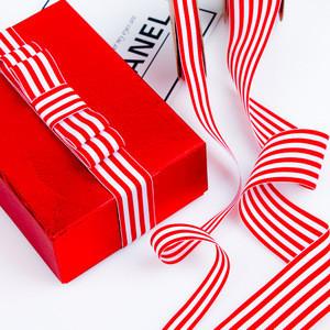 Hot Selling Stripe Belt Red and White Striped Print Christmas Gift Grosgrain Ribbon