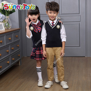 Kindergarten primary school kids girl waistcoat uniforms sets
