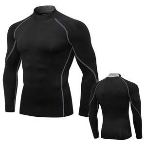Men's Compression Baselayer Mock Neck Long Sleeve Thermal Winter Sports Shirts