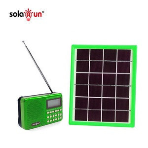 Solar Rechargeable Pocket Radio FM AM SW MP3 SD Card Slot Portable Li-ion Battery