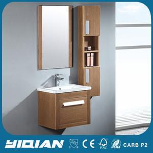 Wall hanging veneer bathroom cabinet with side cabine bathroom suite