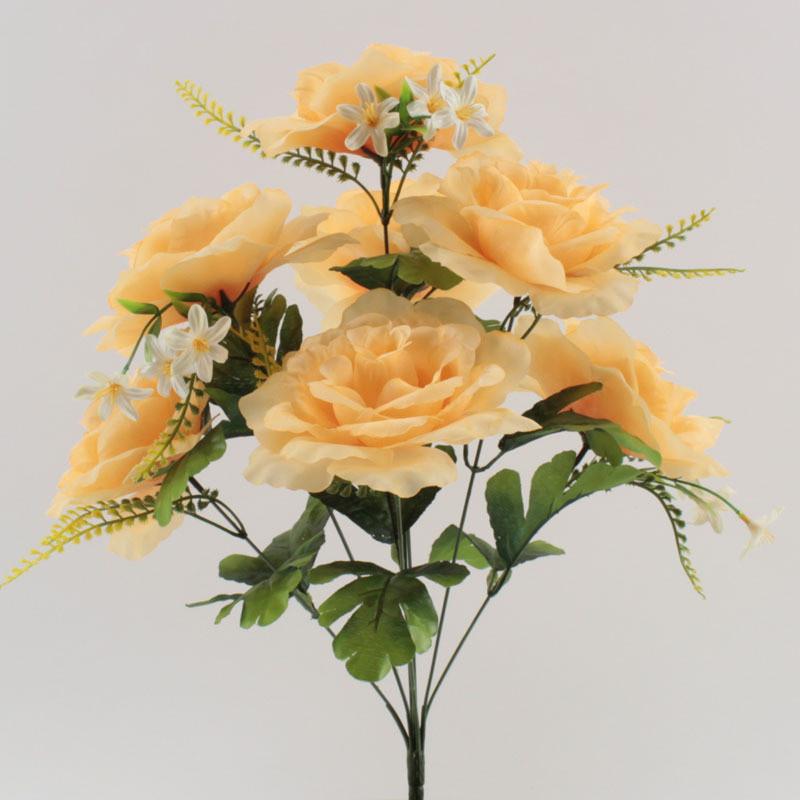 Yiwu supplies 7 heads rose bouquet arrangement artificial flowers funeral