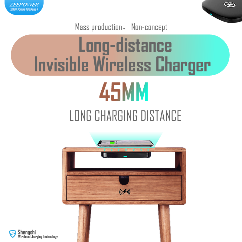 ZeePower 45mm Long Charging Distance Wireless Charger,invisible Wireless Charger,Undertable Charger