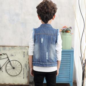 2018 new sleeveless denim kids jacket for boys wholesale children coat