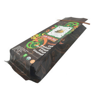 250g Embossing Glossy Matte Beans Lined Brown Kraft Paper Coffee Packing Bag With One Way Valve