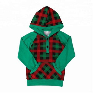 Boutique Green raglan sleeves hooded boy plaid sweater for kids
