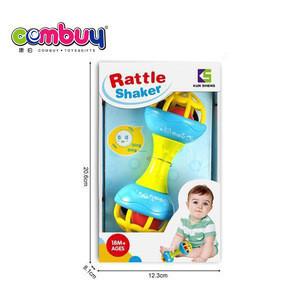 Cartoon rocking plastic game newbron dumbbell shaker baby toy rattle