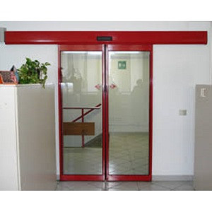 Commercial building entry door drive system safety sensor glass automatic sliding door