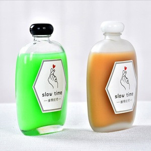 Flask Glass vinegars and soy sauce Bottles for Milk mouth wash Beverage Olive Oil Whiskey Soda Liquid Honey with Leak Proof Cap