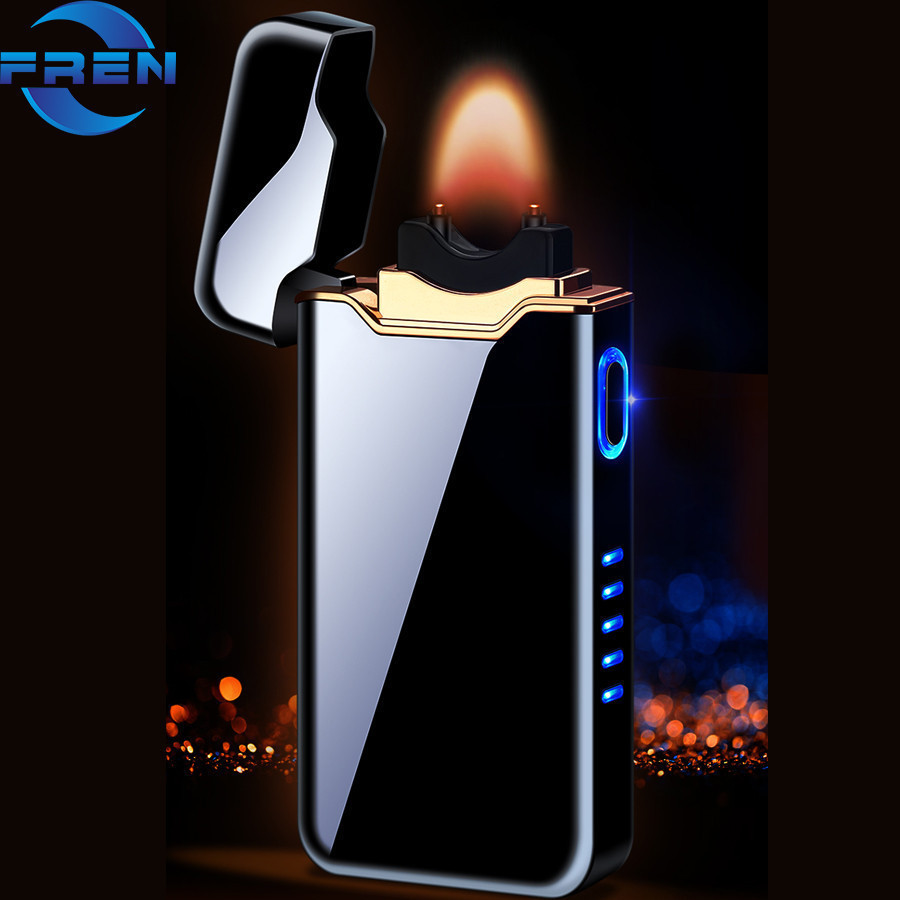 FR-818 Factory Wholesale USB Electric Cigarette Keychain Match Lighter with battery indicate