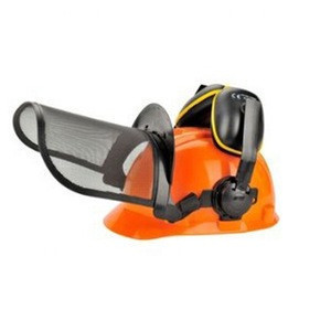 Head protection safety helmet with face shield and ear muff forestry safety cap