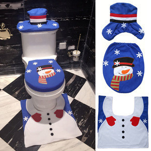Hot Merry Christmas Accessories Holiday Toilet Mat Set