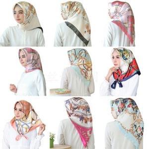 Malaysia Explosion models 90cm satin print large fashion wensli silk square beach fan scarf summer twill 90x90