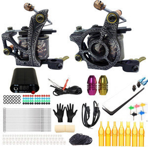 Professional Complete Tattoo Kit with 2 Coil Machine,Machine Gun Power Supply Grip Tip Foot Switch Set TK201-24