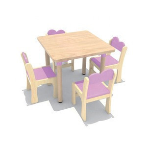 The most popular kindergarten classroom furniture kids oak table and chair Children tables chairs set