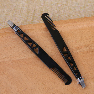 Wholesale Cosmetic Stainless Steel Eyebrow Tweezers and Eyebrow Hair Remove Clip with Comb A228