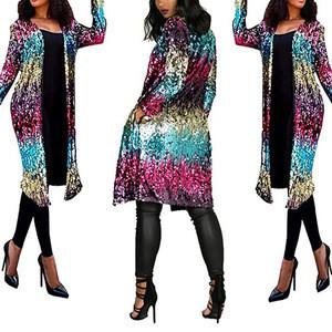 Women Metallic texture color sequins fashion casual jacket evening dress