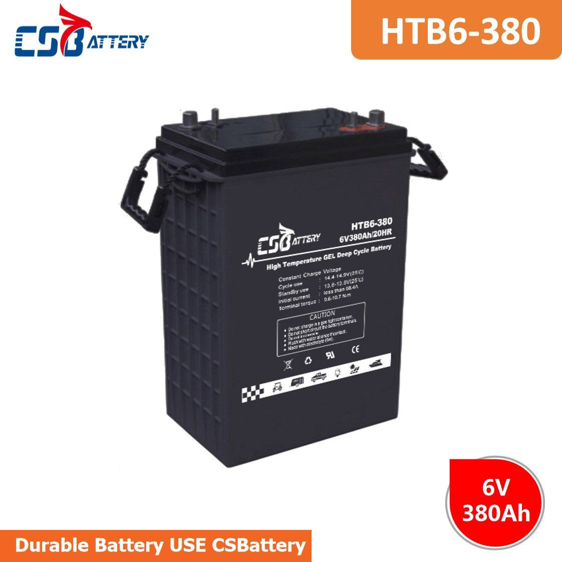 Csbattery 6V380ah Ce/ISO/UL Certificated Lead Acid Battery for Solar/Forklift/Submersible-Motors