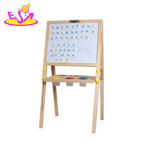2017 new design kids Wooden double-sided magnetic drawing board for sale W12B098