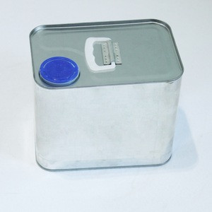 2L Square Silver Tin Cans with Plastic Stretch Lid used for Lubricant/Car Oil/Paint