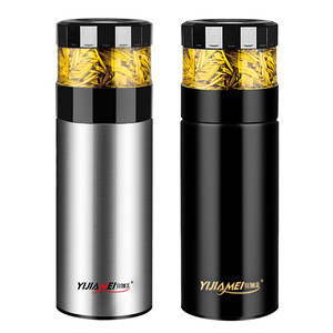 350ml  High Grade  Creative  Portable  Business  Straight Shape  Double Wall  Tea Separating  stainless steel vacuum flasks