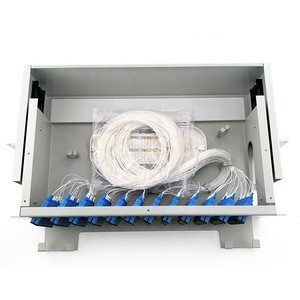 3U 96 Ports Rack Mount Drawer Type Grey Fiber Optic Patch Panel with SC/UPC Adaptor Pigtails and Splice Tray